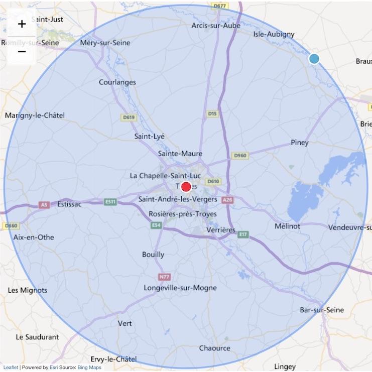 Carte 30km autour de Troyes